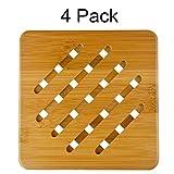 MelonBoat 4 Pack Bamboo Trivet Mat Set, Heavy Duty Hot Pot Holder Pads, 7'' Square