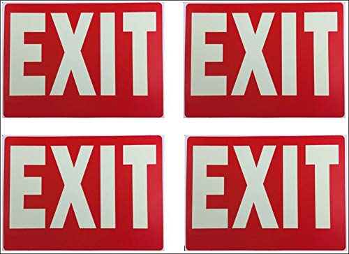 Exit Sign Glow-in-The-Dark Exit Sign, 12 by 9 Inches, Photoluminescent by natraco (4 Pack) ()