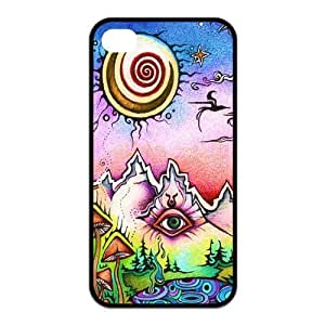 Funny Trippy Protective Rubber Back Fits Cover Case for iPhone 4 4s