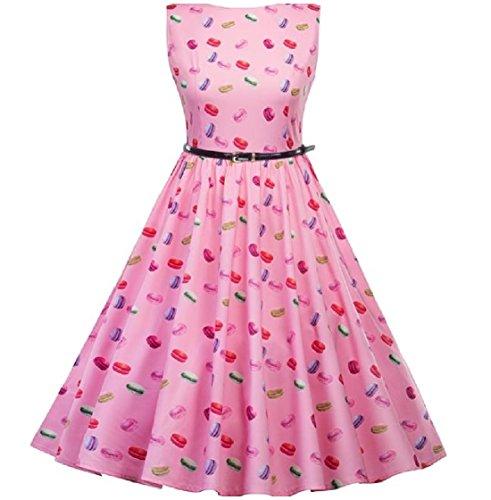 Coolred-femmes Sans Manches Imprimé Floral Audrey Des Années 1950 Hepburn Mini-robe Rose