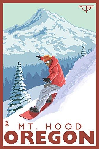 Snowboard Mt. Hood, Oregon - Timberline Lodge (12x18 Art Print, Wall Decor Travel ()