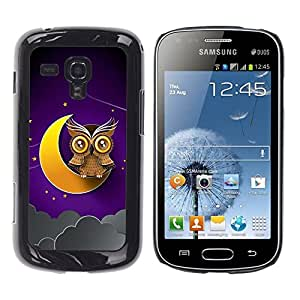 Be Good Phone Accessory // Dura Cáscara cubierta Protectora Caso Carcasa Funda de Protección para Samsung Galaxy S Duos S7562 // Crescent Moon Yellow Owl Brown Night Sky