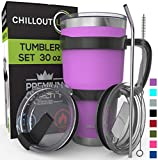 Stainless Steel Travel Mug with Handle 30oz - 6 Piece Set. Tumbler with Handle, Straw, Cleaning Brush & 2 Lids. Double Wall Insulated Large Coffee Mug Bundle - Purple Powder Coated Tumbler