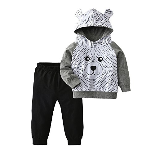 Derouetkia Toddler Baby Boys Cartoon Little Bear Long Sleeve Hoodie Tops Black Pants Outfit Clothes Set (70(6-9 Months)) ()