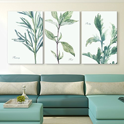 3 Panel Watercolor Style Plants of Rosemary Basil and Parsley Gallery x 3 Panels