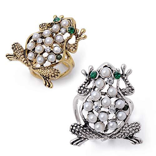 Yantu 2 Pcs Vintage Metal Animal Tricyclic Scarf Clip Imitation Pearl Frog Brooches Women Rhinestone Brosh Gift