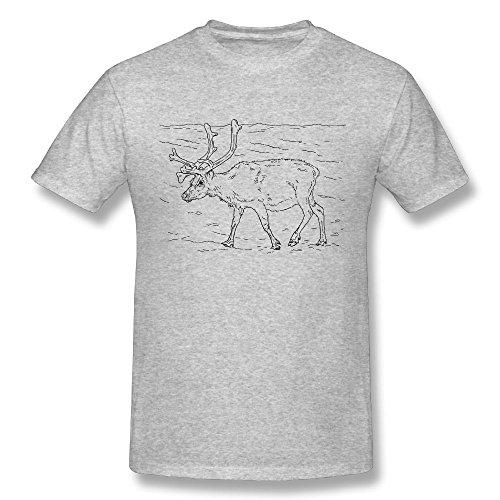 (GUEN-T Men's Svalbard Reindeer Fashion T-Shirt Small Grey)