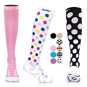 CPR Compression Socks for Women Men Nurses Compression Stockings for Woman Graduated Compression Sock 20 30 mmHg Knee High Nursing Travel Comfortable Compression Socks (Black Medium - 2pack)