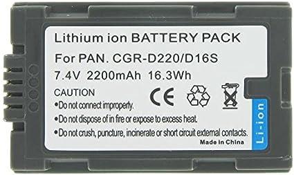BATTERIA agli ioni di litio per Panasonic PV-DV400 AG-HVX200 NV-EX3 cgr-d16a 1B nv-ds11en