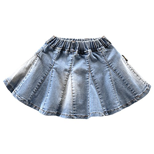 NABER Girls' Blue Washed Denim Elastic Waist Summer Pleated Tutu Mini Skirt (4-5 Years) ()