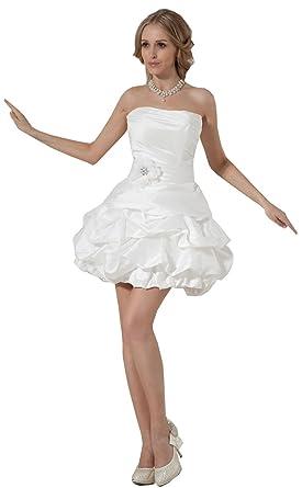 Kurzes Brautkleid Hochzeitskleid Aus Taft Mit Schnürung 3840 Creme