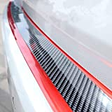 Door Entry Guards Scratch Cover Protector Paint Threshold Guard,Carbon Fiber red Edge Rubber car Bumper Door Guard/Rear Bumper Guard Scratch Scratch Protection Strip 100% Waterproof(Width 2in,Long 9.…