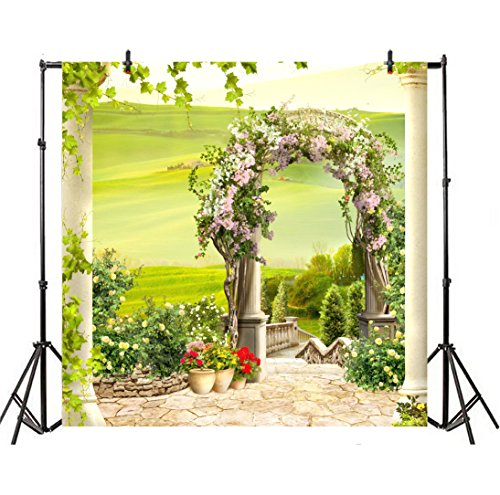 aphy Backdrop Outdoor Wedding Backdrop 3D Arch Floral Door Summer Garden Grapevine Roses Stone Floor Stairs Birthday Bridal Baby Shower Photo Portrait Vinyl Video Studio Prop ()
