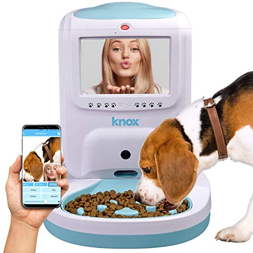 Knox Automatic Pet Feeder With 2 Way Video and Audio Live Interaction and Recording Electronic Wifi Food and Treat Dispenser for Dogs and Cats - Schedule Feedings With Smartphone App (Pet Video Chat)