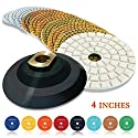 "CHANGE MOORE Wet Diamond Polishing Pads Set 4 Inch for Marble Travertine Concrete Quartz Countertop Floor Stone 10 PCS and 1 Velcro Rubber backing pad (5/8"" arbor)"