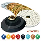 quartz countertops polish - CHANGE MOORE Wet Diamond Polishing Pads Set 4 Inch for Marble Travertine Concrete Quartz Countertop Floor Stone 10 PCS and 1 Velcro Rubber backing pad (5/8
