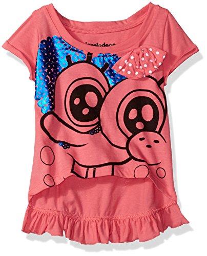 Nickelodeon Little Girls' Toddler Spongebob Bow Ruffle Hem T-Shirt, Pink, 4T