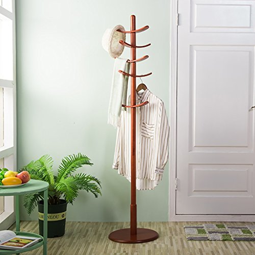 G'z Oak Wood Coat Rack Study Portable Free Standing Entryway Hat Coat Jacket Umbrella Holder Hanger with Base Coat Tree Stand (Color : Wine red)