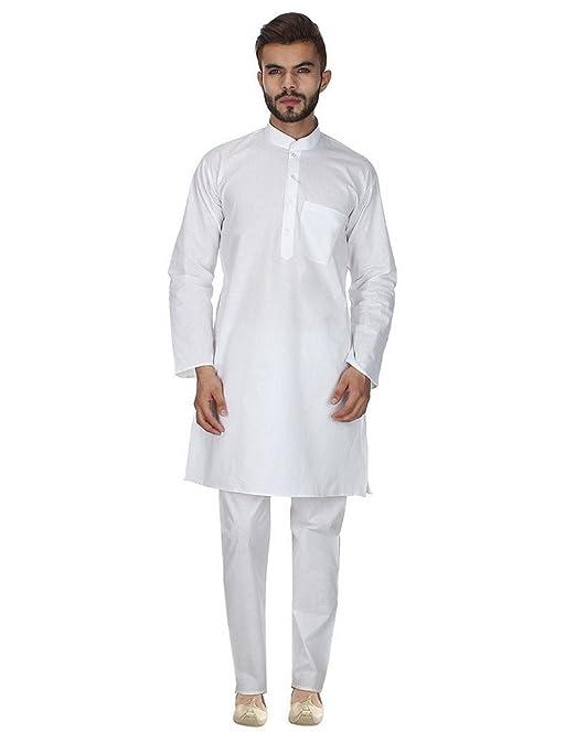 Hombre Tradicional Ropa de batista color blanco Kurta pijama por Royal Kurta blanco blanco 46
