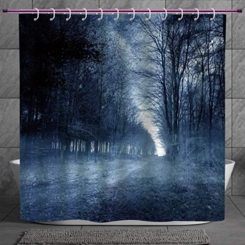 Durable Shower Curtain 2.0 [ Halloween,Ghostly Haunted Forest Image Bleak Gloomy Misty Nature Landscape Decorative,White Black Light Blue ] Waterproof and Mildewproof Polyester Fabric Bath Curtain Des