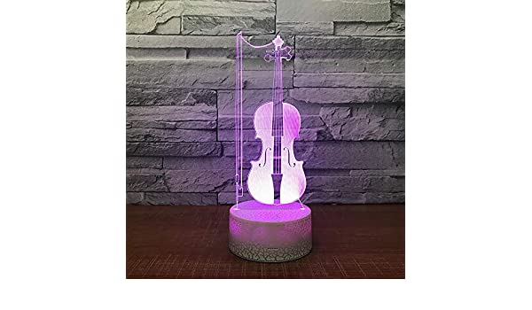 BFMBCHDJ Violín 3D LED Mesa Lámpara de escritorio USB 7 Color ...