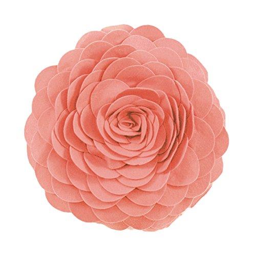Fennco Styles Evas Flower Garden Decorative Throw Pillow with Insert - 13 inch Round (Rose, 13 Case+Insert)