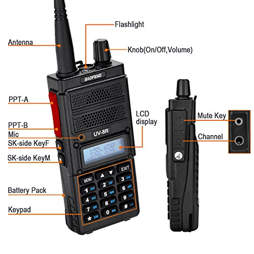 Two Way Radio, Baofeng UV-8R (Upgraded UV-5R) 8-Watt Ham Radio Transceiver Walkie Talkies Dual Band (136-174MHz VHF & 400-520MHz UHF), VOX Function with Earpiece, Extended Antenna & 2000mah Battery by BaoFeng (Image #5)