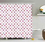 Pink and Red Shower Curtain Ambesonne Polka Dots Home Decor Collection, Polka Dots Pattern Consisting of An Array of Filled Circles Pop Art Concept, Polyester Fabric Bathroom Shower Curtain Set with Hooks, Pink Red White