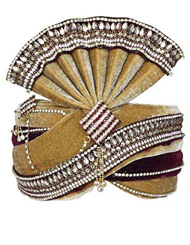 INMONARCH Mens Buy Grooms TURBANS Online Pagari Safa Groom Hats TU1077 23-Inch Brown by INMONARCH