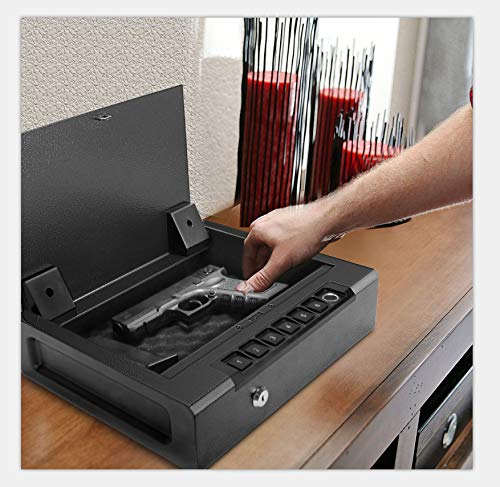 Biometric Gun Safe for 2 Pistols, Quick Access Handgun Safe for Home, Fingerprint Hand Gun Safe Firearm Case Box -Upgraded Biometric/Keypad/Key Access,Silent Mode,Rugged Construction,Auto Open Lid
