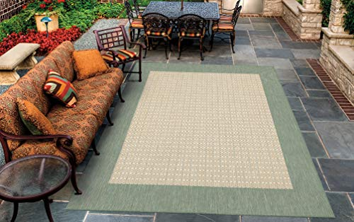 Couristan 1005/5005 Recife Checkered Field Natural/Green Rug, 3-Feet 9-Inch by 5-Feet 5-Inch