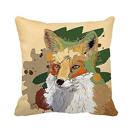 Warrantyll Vintage Painted Fox Home Decor Cushion Square Decorative - Painted fox home