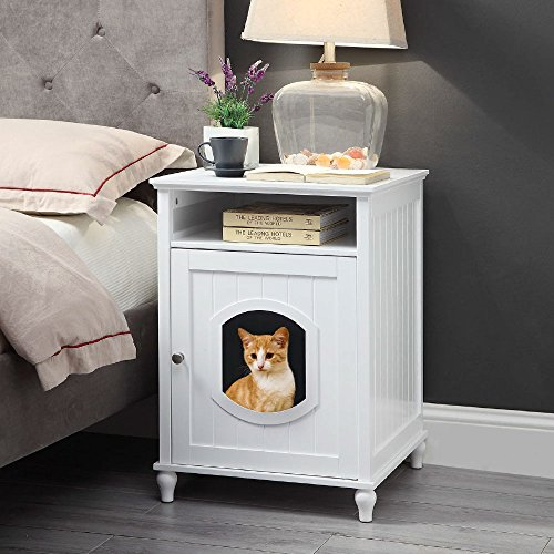 UniPaws Designer Cat House, Cat Washroom, Indoor Pet House Nightstand, Litter Box Enclosure Side Table, Wooden Cat Bathroom Crate-White by UniPaws