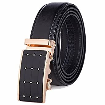 OMIAX Men's Leather Ratchet Designer Belt, Automatic Solid Buckle, Adjustable Belt Without Holes, Comes with Attractive gift box, Length 130cm, Width 3.5cm (Style 11)