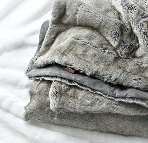 Luxury Faux Fur Throw Blanket Super Soft Oversized Thick Warm Afghan Reversible to Plush Velvet in Tan Grey Wolf, Cream Mink or Blush Chinchilla, Machine Washable 60 by 70 Inch (Faux Mink Blankets)