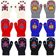 QKURT 6 Pair Toddler Stretchy Mittens, Baby Magic Mittens, Winter Mittens for 2~5 Year Old Baby Girls Boys Sch