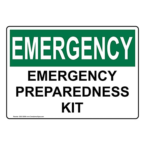 ComplianceSigns Vinyl OSHA EMERGENCY Emergency Preparedness Kit Labels, 5 x 3.50 in. with English Text, White, pack of 4