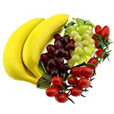 Gresorth Artificial Mixed Fruit Decoration Set of Banana Cherry Grape Bunches - Realistic