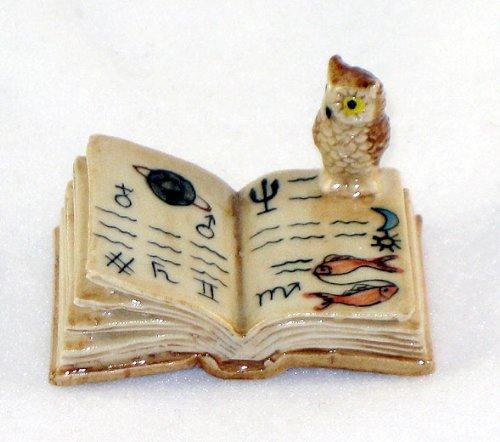 OWL Small on Open BOOK Figurine MINIATURE New Porcelain KLIM