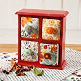 Spice Box 4-Drawer Floral and Geo Patterns, Red