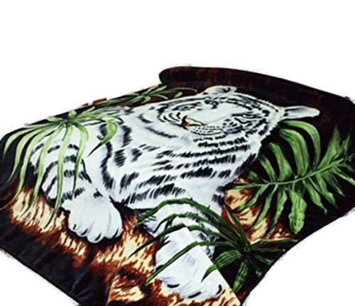 White Tiger Throw Animal Blanket, for Traveling, Hiking, Camping , Full Queen , TV, Cabin, Couch, Bed Blanket. 75''Wx90''H . 3.5LBS by Hiyoko