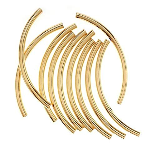 100pcs Top Quality Curved Noodle Tube Spacer Beads 50mm Gold Plated Brass for Jewelry Craft Making CF235