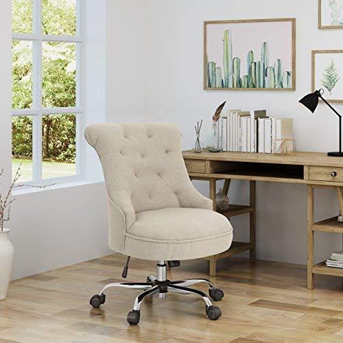 Christopher Knight Home 304964 Tyesha Desk Chair, Wheat + Chrome