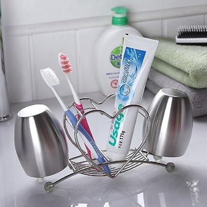 CNBBGJ Creative porta cepillo de dientes de acero inoxidable, acero inoxidable baño, porta cepillo