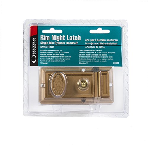 - Ultra Hardware 43300 Rim Cylinder Deadbolt Night Latch, Brass