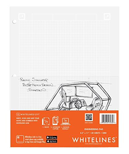 Case of 24 Whitelines App Engineering Computational Pads, 8.5''x11'', Grey Grid White Paper, 80 sheets, 3 Hole punch, Enclosed Grid printing by WhiteLines (Image #10)
