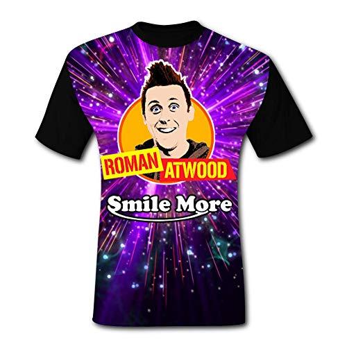 TMNJSJ Men Classic Short Sleeve T-Shirt SmileMore_Roman Atwood_Logo 3D Print XXL