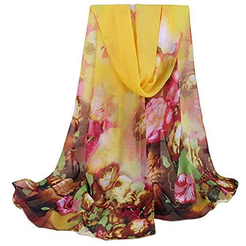 UONQD Fashion Lady Women Floral Prints Shawl Chiffon Scarf(OneSize,Yellow)