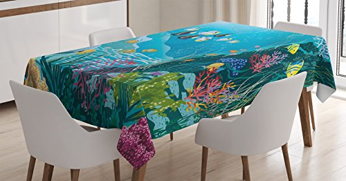 Ocean Decor Tablecloth by Ambesonne, Underwater Landscape with Tropical Fish and Algae Polyps Descriptive Nautical Image, Dining Room Kitchen Rectangular Table Cover, 60 W X 90 L Inches, - Gift Fish Tropical