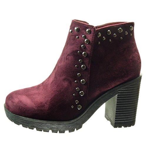 Angkorly - damen Schuhe Stiefeletten - Plateauschuhe - Perle - metallisch Blockabsatz high heel 9 CM - Burgunderrot